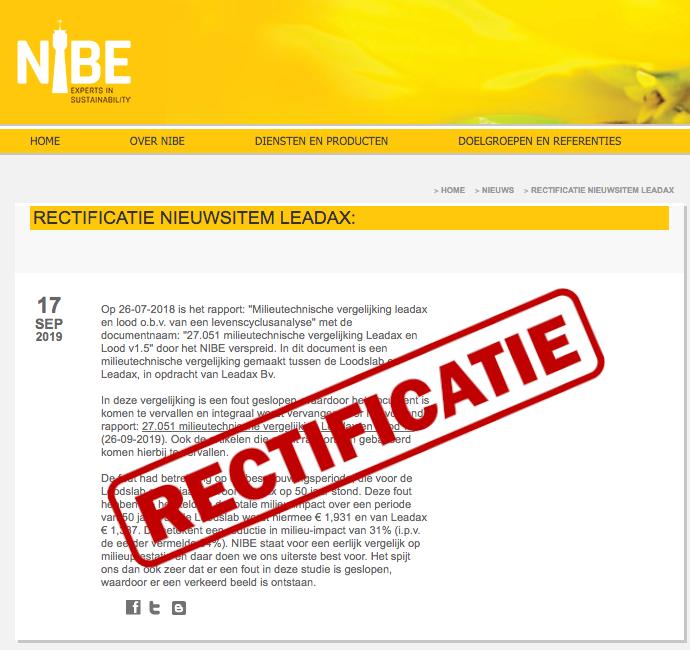 NIBE RECTIFICEERT VERGELIJKENDE LCA LEADAX EN LOOD